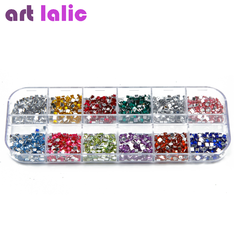 3000Pcs Square Rhinestones Nail Art Case Acrylic Tips UV Gel Decoration Gel Glitter Polish DIY 2000 pcs 12 colors nail shining rhinestones glitter acrylic nail art decoration 2mm for uv gel iphone and laptop diy nail tools