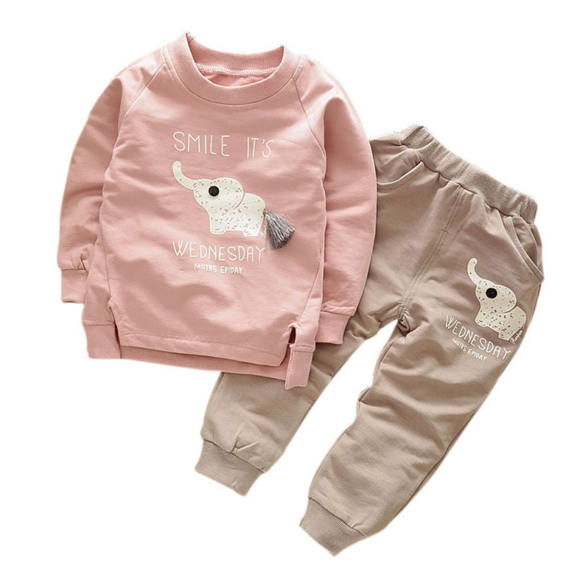 Kids Clothes 2017 Autumn/Winter Baby Boys Girls Cartoon Elephant Cotton Set Children Clothing Sets Child T-Shirt+Pants Suit cotton baby rompers set newborn clothes baby clothing boys girls cartoon jumpsuits long sleeve overalls coveralls autumn winter