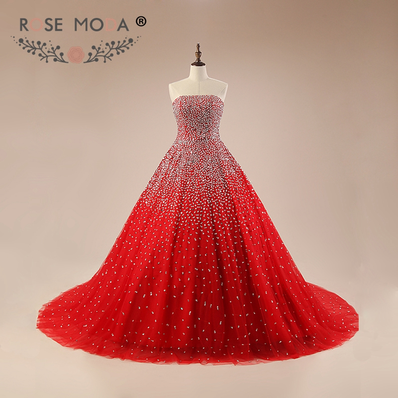 Rose Moda Luxury Bling Red Prom Dress Fully Beaded Puffy Prom ...