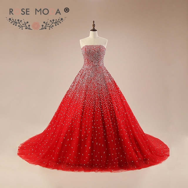 2d2fae6b65d9 Rose Moda Luxury Bling Red Prom Dress Fully Beaded Puffy Prom Dresses  Reflective Dresses 2019