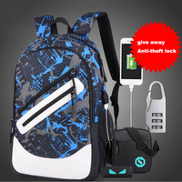 Senkey Style Men Backpack USB Charge Printing Designer Laptop Backpack Cartoon Luminous School Bags For Teenagers