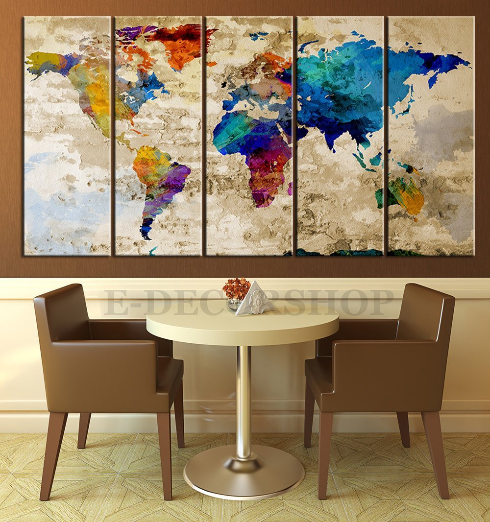 World map canvas print contemporary 5 panel colorful for Large colorful wall art