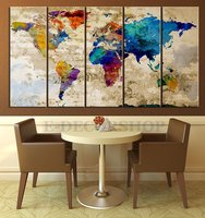 World Map Canvas Print Contemporary 5 Panel Colorful Abstract Rainbow Colors Large Wall Art