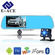 E-ACE 5.0 дюймов Android GPS Автомобильный видеорегистратор Антирадары WI-FI Bluetooth автомобильных зеркало заднего вида Камера dashcam Двойной видео Регистраторы