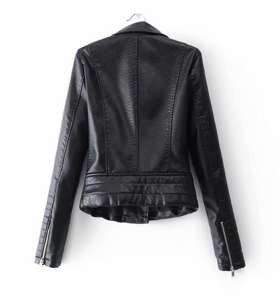 Slim Cuir Noir Moto Veste Poches Biker Survêtement Zipper 2018 Motif Court Manteau Femmes Serpent Pu Fit Vestes Tops En XvvxRqCHw
