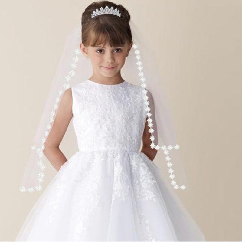 In Stock Girls First Communion Veils White/Ivory Wedding Flower Girl Veils Hair Accessories Free Shipping girl