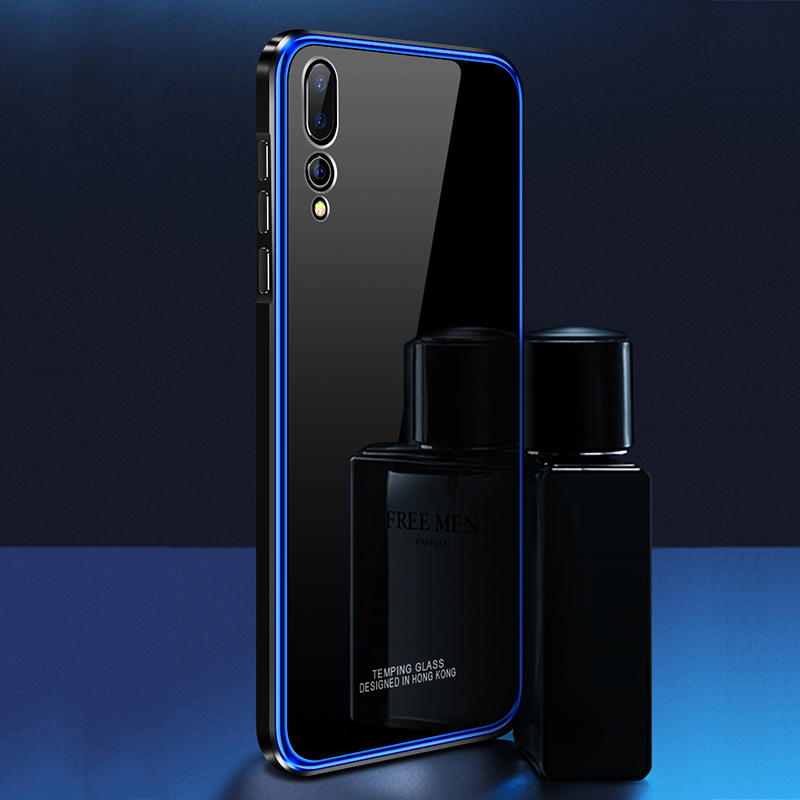 Metal Bumper Case for Huawei P20 Pro Luxury Plating Frame Hard Clear Tempered Glass Mirror Armor Cover Hawei P20 Pro Phone Case iPhone XS