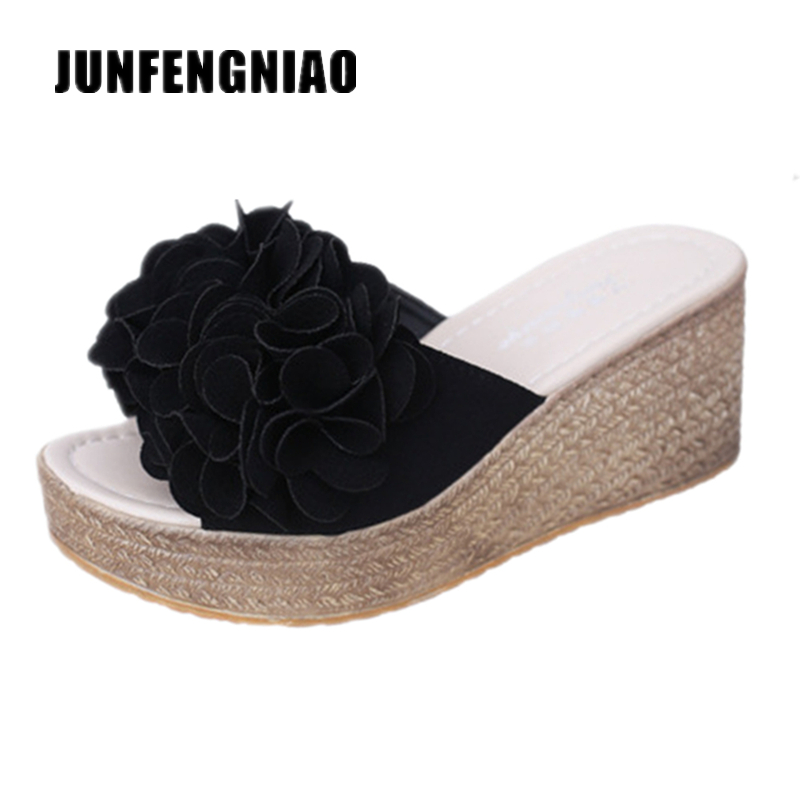 Fashion Women Shoe Slipper Sandals Summer Female Floral Platform Beach Flower High Heel Causal Korean Slip On Superstar ZZ-104 2017 new arrival summer fashion style casual shoe women beach sandals green lady flats slides slipper mules metal chain slip on