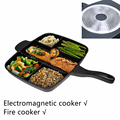 "Wholesale Fryer Pan Non-Stick 5 in 1 Fry Pan Divided Grill Fry Oven Meal Skillet 15"" Black for Electromagnetic and  Fire cooker"