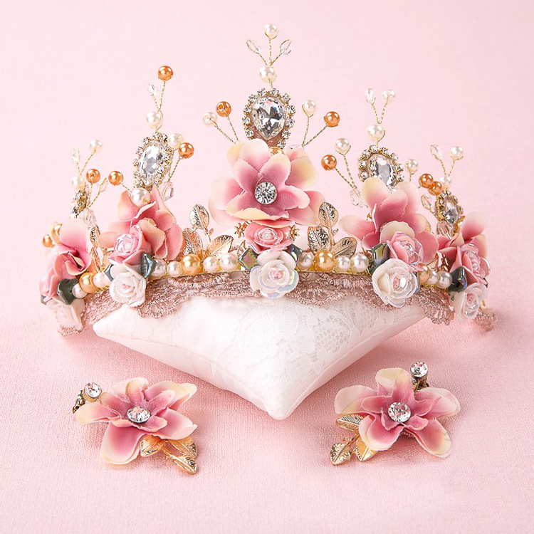 Sweet pink bride handmade beaded lace tiara corone crown tocados para novias ceramic flower hair headdress