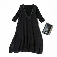 Veydu женское Повседневное платье устанавливает Половина рукава установлены эластичные футболка+ v-образным вырезом свободные Hollowed трикотажные строки платье леди Костюмы костюм