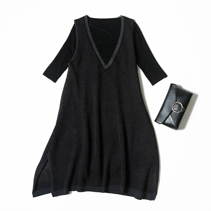 Équipée Casual Demi Vêtements Noir ligne Ensembles Manches V Creusé shirt Veydu Femmes Tricoté Lady A Lâche Robe cou Élastique T Costume RYx5wRqC