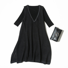 Veydu Women Casual Dress Sets Half Sleeve Fitted Elastic T Shirt + V-neck Loose Hollowed Knitted A-line Dress Lady Clothing Suit