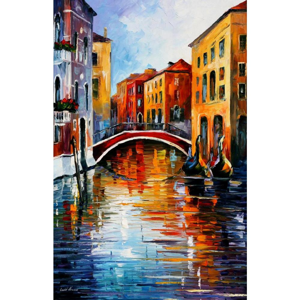 Beautiful landscape paintings canal in venice palette - Landscape paintings for living room ...