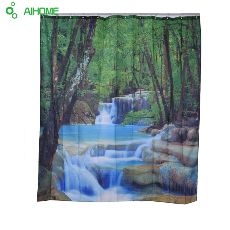 Waterfall Colorful Tree Shower Curtain 180*200cm Waterproof Polyester Shower  Curtain Bathroom Decorations(China