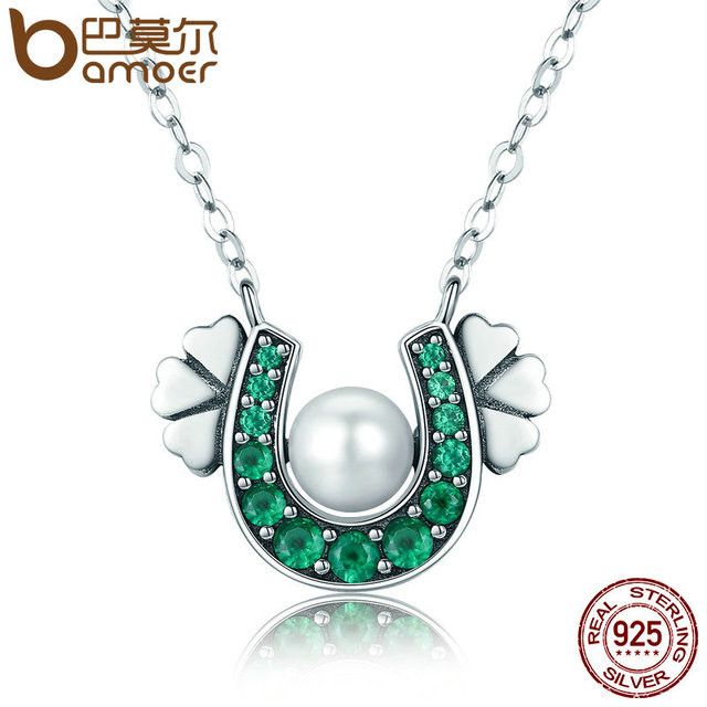 be9053baa169f US $9.18 30% OFF|BAMOER Authentic 925 Sterling Silver Horseshoe Green CZ  Clover Flower Pendant Necklace Women Sterling Silver Jewelry SCN162-in ...