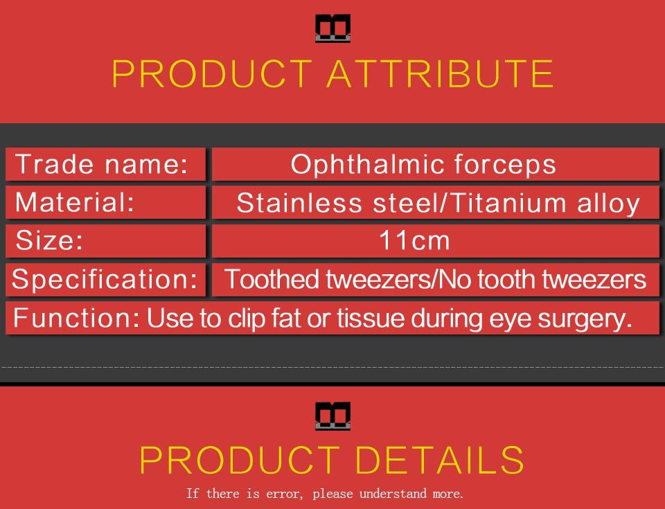 Aço inoxidável ferramenta pálpebra dupla intra-ocular micropinças
