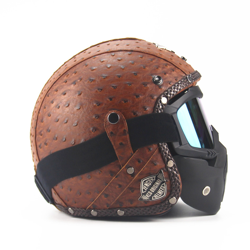 Leather Helmets 3 4 Motorcycle Chopper Bike Helmet Open Face