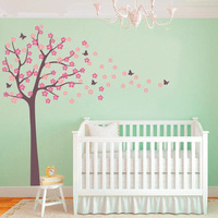 Huge Tree Blowing Cherry Blossom Wall Decal Nursery Tree Flowers Butterfly Art Baby Kids Room Wall Sticker Nature Wall Decor