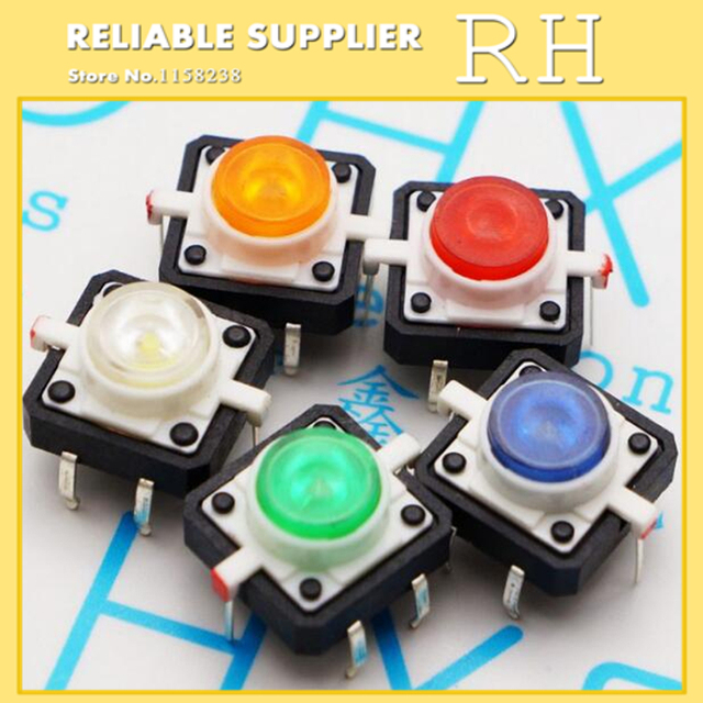 20PCS/lot  Illuminated Tact Switch  Button switch  12*12  red White blue yellow green LED  4 pin reset