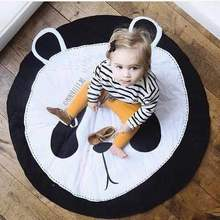 Baby Play Mat for Kids Animal Round Crawling Puzzle Mat Infant Game Pad Play Rug Floor Carpet Baby Gym Mat Activity Room Decor 90cm baby play mats carpet kids room rabbit lion animal soft cotton crawling mats round floor rug playmats for baby gym mat