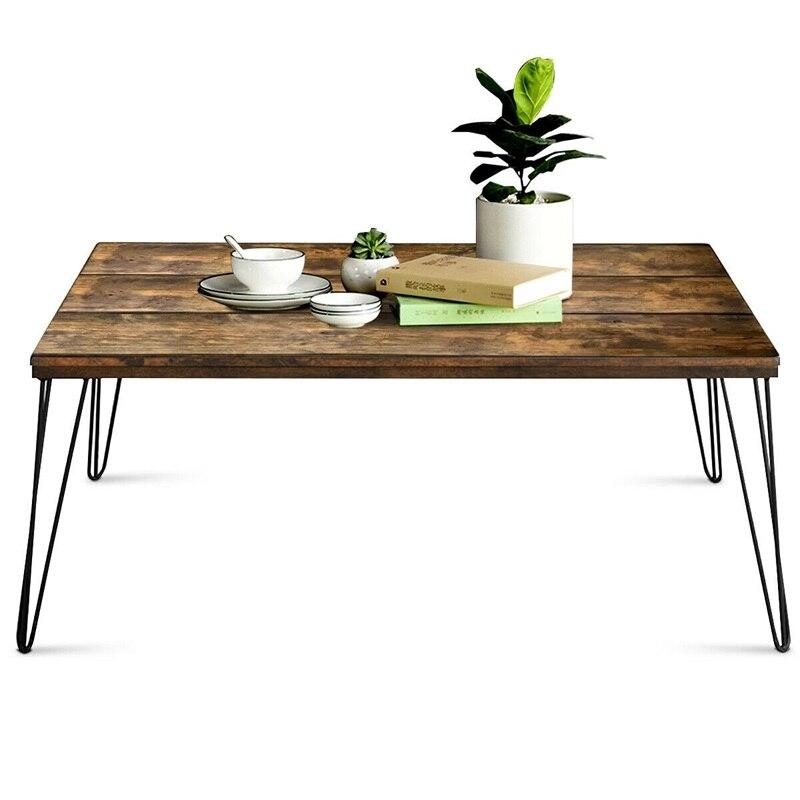Table basse de Cocktail rectangulaire en bois massif industriel rustique mélangé grande Surface en bois rustique pieds en métal robustes HW60876