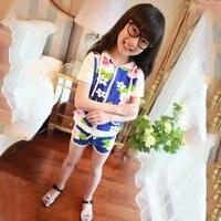 Newest 2pcs Summer Baby Girls Kid Flower Short Sleeve T-shirt+Pant Child Sport Suit Set