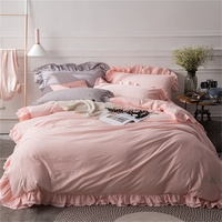 Washed Cotton Solid Pink White Grey Purple Blue Ruffle Bedding Set Queen King Size Duvet Cover Pillowcase Bed Sheets