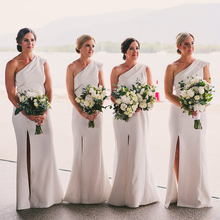 Bbonlinedress Sheath Spandex Bridesmaid Dresses 2019 One Shoulder Dress Long With Split Party