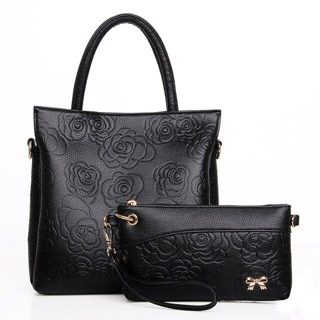 New 2017 Women Handbag Fashion Pu Leather Bucket Bag Retro Solid Color Ping Large Capacity Woman