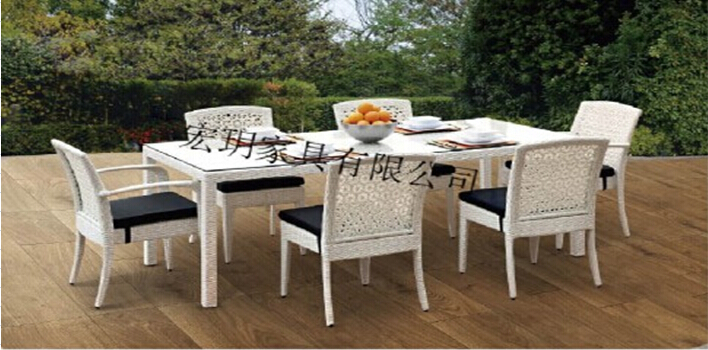 Outdoor dining furniture set garden dining table chair - Set de table matelasse ...