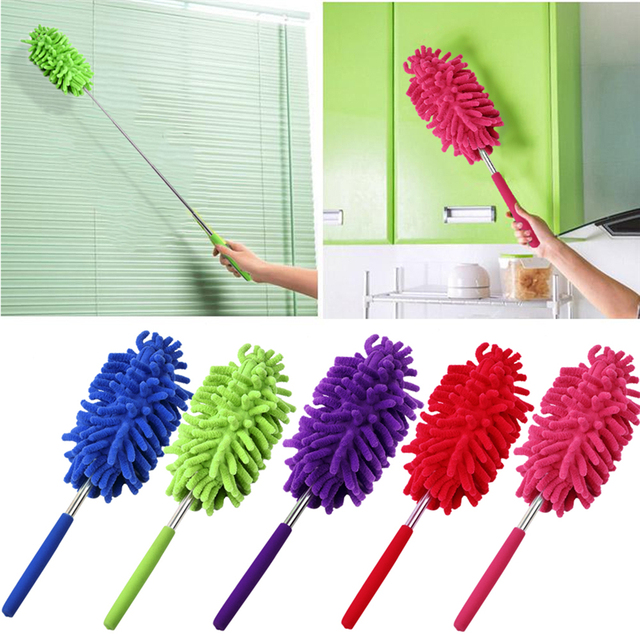 Chenille Yarns Extendable Dust Shan Scaling Brush Clean Duster Car Wash with  Mini Stainless Steel Feather Dusters Brush