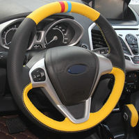 leather hand Top Leather Steering Wheel Hand-stitch on Wrap Cover For Ford Fiesta 08-13 Ecosport 13-16 (2)