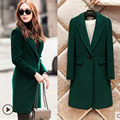 Autumn Winter Fashion Turn-down Collar Dark Green Coat Women's Single Botton Wide-waisted Overcoat Female