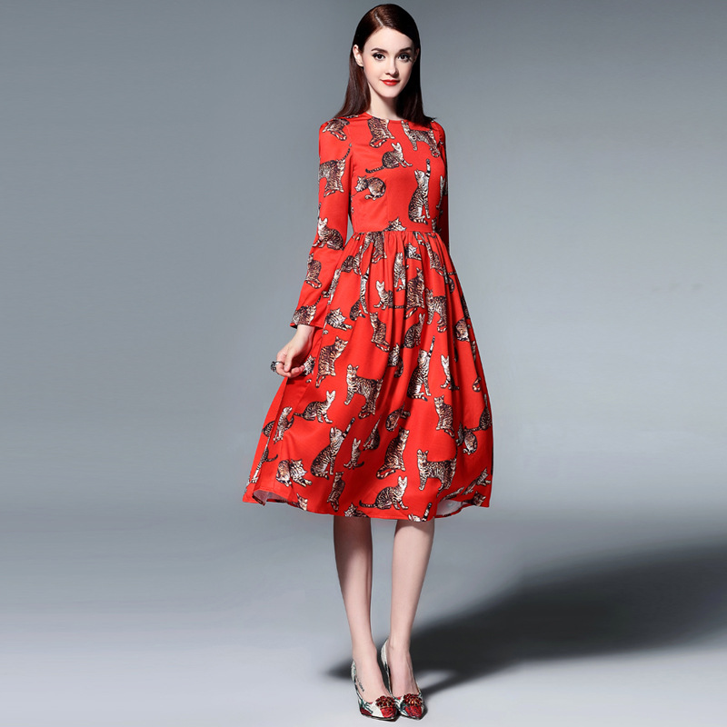 Fashion Lady Dresses: High Quality European Runway Designer 2016 Women's Autumn
