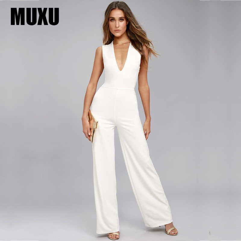 0b8dc35fd60 ... MUXU white casual fashion woman clothes summer jumpsuit wide leg  jumpsuits backless v neck body feminino ...