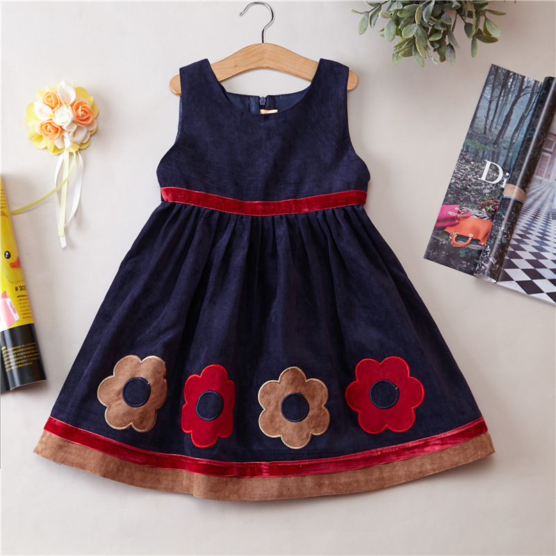 Girls Princess dress Early spring autumn and winter Dress Girls kids clothing party wear girls birthday dress 2016 autumn winter clothing corduroy girls dress girl spring and autumn winter vest dress party princess dress