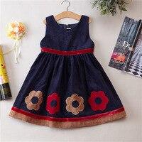 Autumn Clothing Baby Corduroy Longuette Sleeveless Flower Girl Dress Children Dress Party Dress