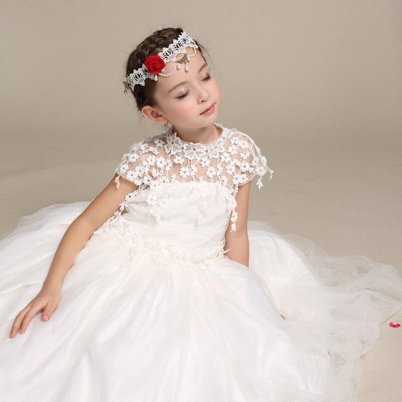 2017 Elegant Long Wedding Dress for Flower Girls Solid White ...
