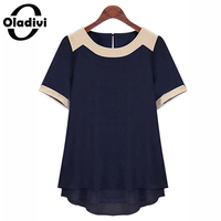 6XL Plus Size Fat Women Clothing Short Sleeve Pachwork Chiffon Blouses Summer Wear Fashion 2014 Female