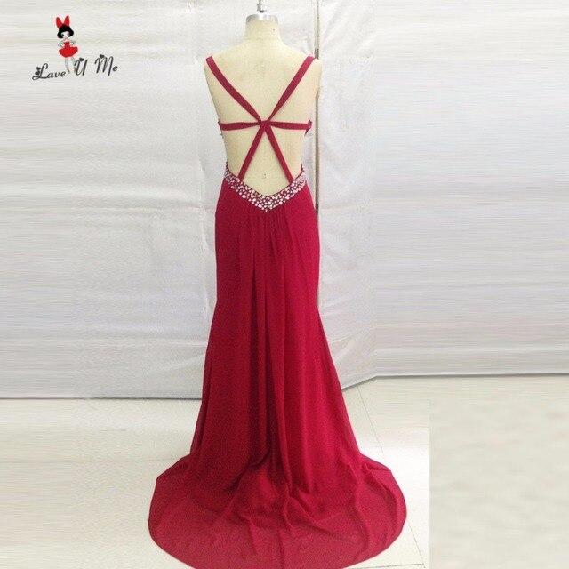 9c740af434 Borgoña Backless Atractivos Vestidos de Baile 2017 Vestidos de Gala de  Noche Largo Vestidos Del Partido