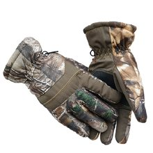 Large Size Winter Warm Gloves Outdoor Riding Skiing Bionic Camouflage Waterproof Flannel PU Anti-skid Male/Female Style Gloves(China)