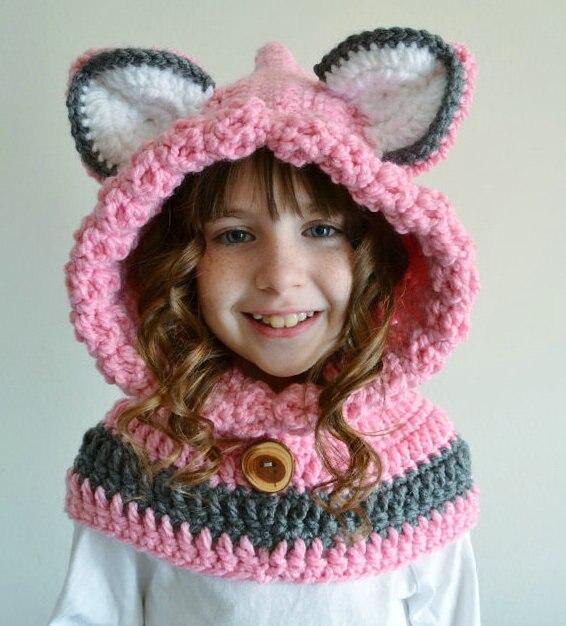 Childrens Fox Hat Pink Fox Hoodie Hat Girls Fox Cowl Animal Hat