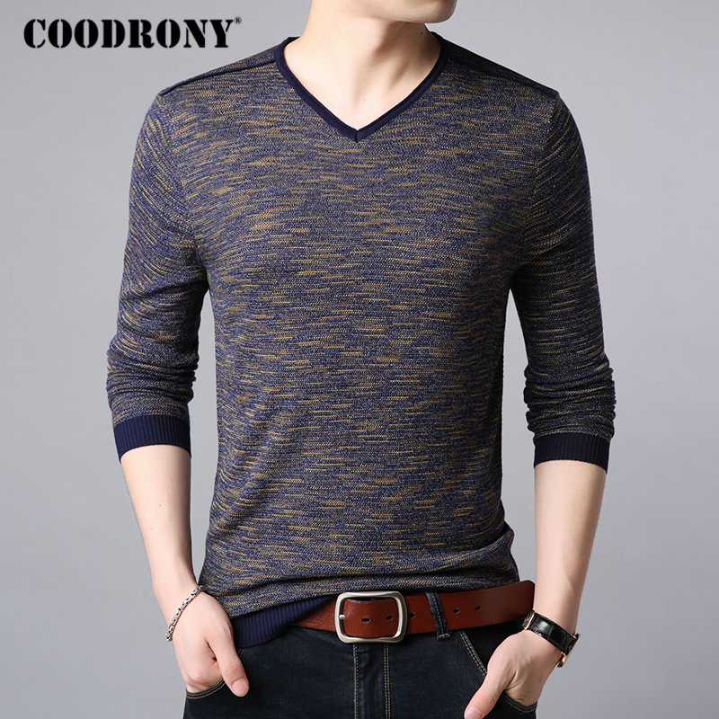 COODRONY Brand Sweater Men Streetwear Fashion V-Neck Pullover Men Autumn Winter Cotton Sweaters Knitwear Shirt Pull Homme 91071
