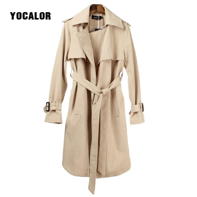 YOCALOR Women Trench Coat Windbreaker Spring 2018 Fashion Long Outwear Slim For Women With Belt Female Overcoat Autumn Outerwear