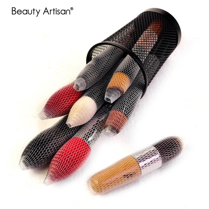 10 teile/los Make-Up Pinsel kopf Schutz abdeckung Make-Up Pflege Werkzeug Kunststoff Pinsel haar Schutz netzwerk Zu verhindern haare borsten