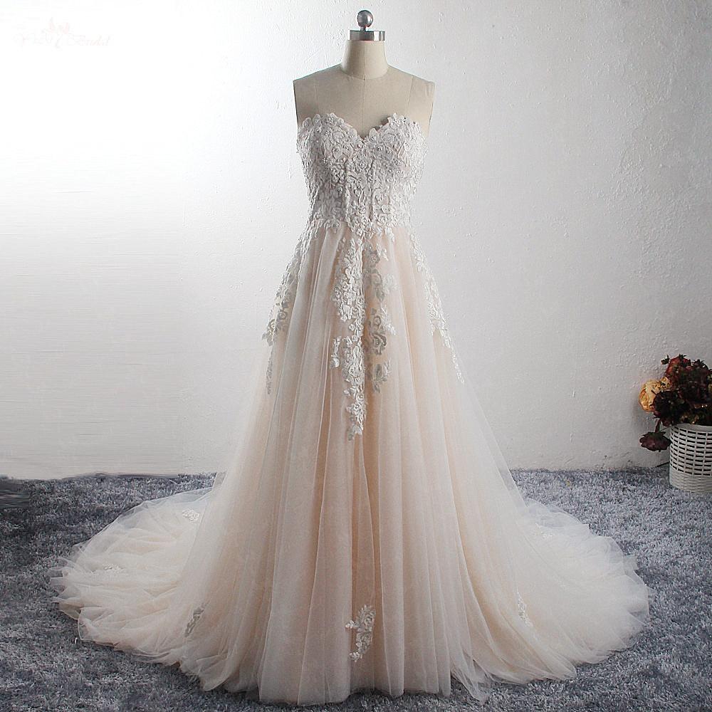 LZ296 Blush Colored Beaded Wedding Dress Sweetheart Lace