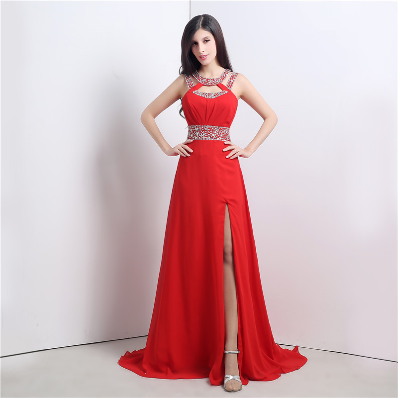 Real Photos Red Color   Prom     Dress   Gorgeous A Line Halter Long Chiffon Formal Imported Party Gown Plus Size Custom Made