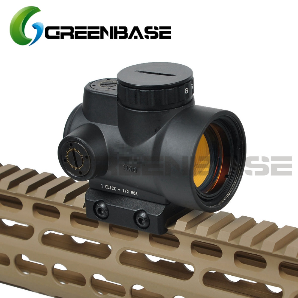Greenbase Triji MRO 1x Red Dot Sight 2 MOA Tactical Red Dot Scope With Low / High Mount Airsoft Riflescope Hunting Shooting tactical trijicon mro style 1x red dot sight scope for high and low picatinny rail mount base hunting shooting m9159