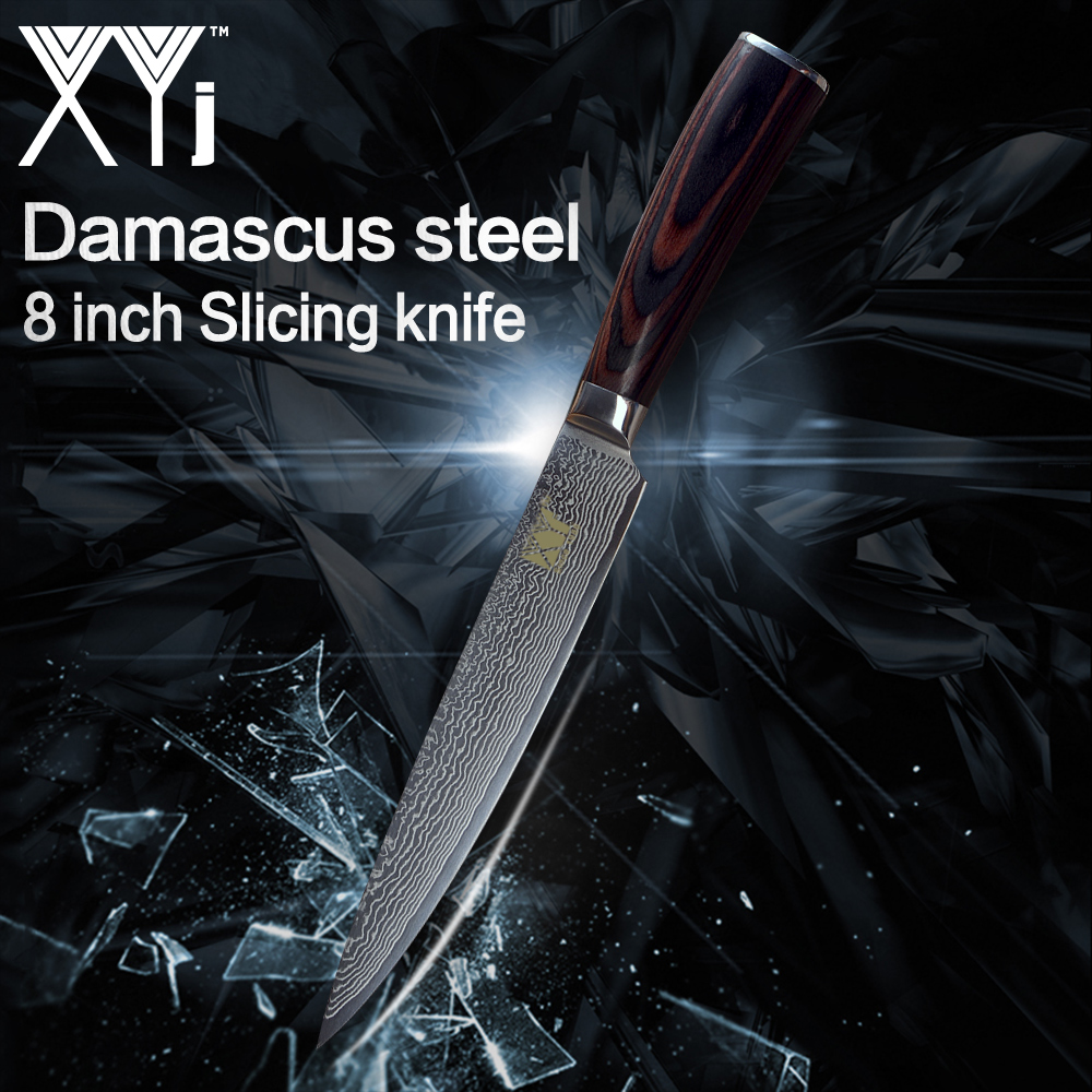 XYj Kitchen Knife 8 inch Japanese Damascus Steel Slicing Knife VG10 Color Wood Handle Meat Kitchen